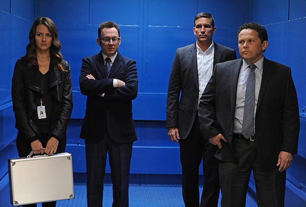 """If-Then-Else"" -- Samaritan launches a cyber-attack on the stock exchange, leaving the team with no choice but to embark on a possible suicide mission in a desperate attempt to stop a global economic catastrophe, on PERSON OF INTEREST, Tuesday, Jan. 6 (10:01-11:00 PM ET/PT) on the CBS Television Network. Pictured left to right: Amy Acker, Michael Emerson, Jim Caviezel and Kevin Chapman Photo: JoJo Whilden/Warner Bros. Entertainment Inc. © 2014 WBEI. All rights reserved."