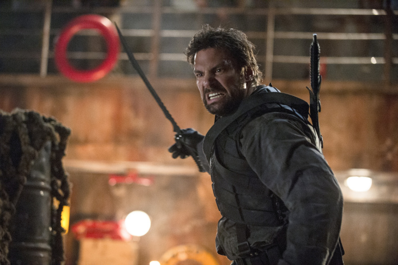 "Arrow -- ""The Promise"" -- Image AR215b_0509b -- Pictured (L-R): Manu Bennett as Slade Wilson -- Photo: Cate Cameron/The CW -- © 2014 The CW Network, LLC. All Rights Reserved."