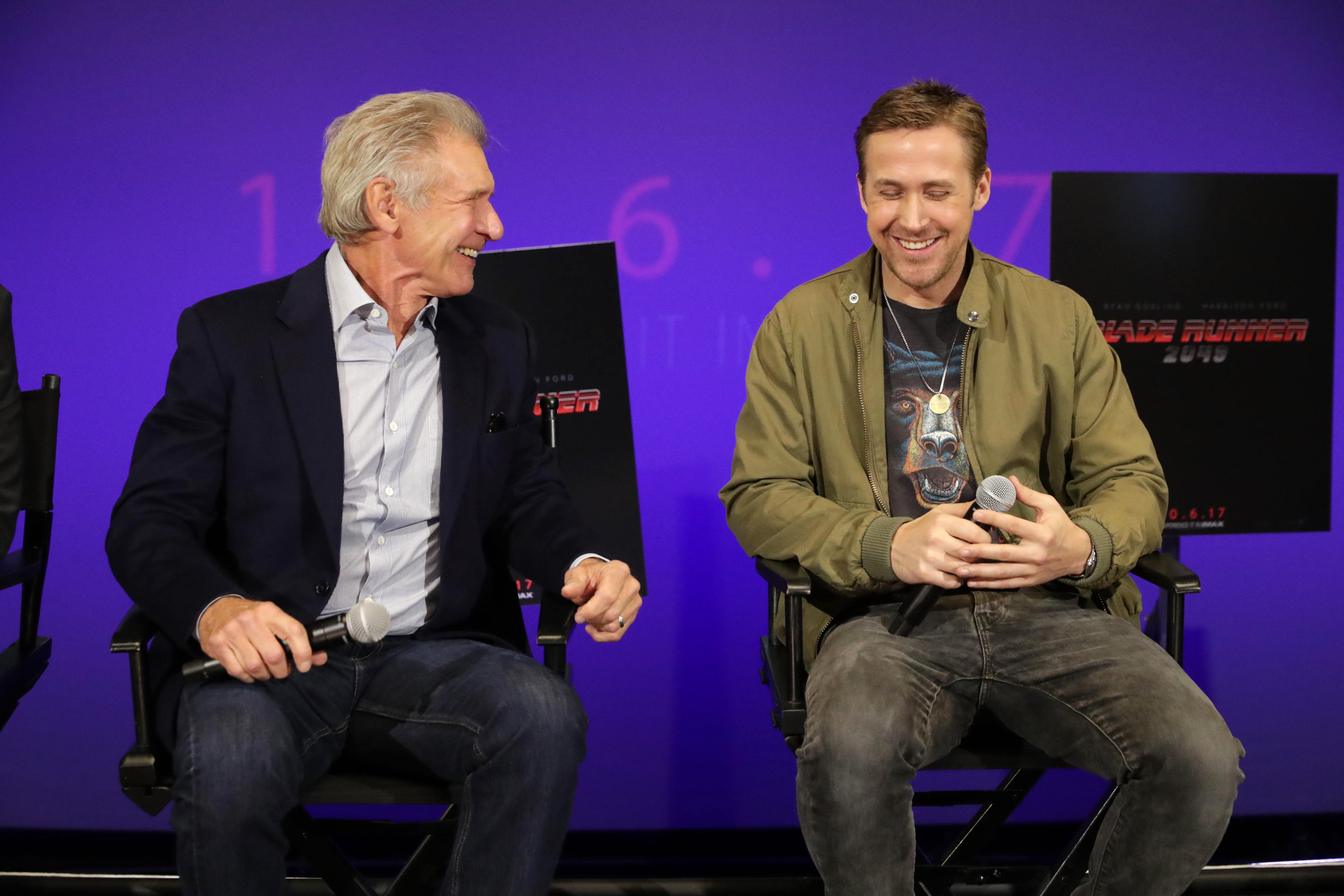 Exclusive Mandatory Credit: Photo by Eric Charbonneau/REX/Shutterstock (8811069ac) Harrison Ford, Ryan Gosling 'Blade Runner 2049' film Q & A, Los Angeles, USA - 08 May 2017